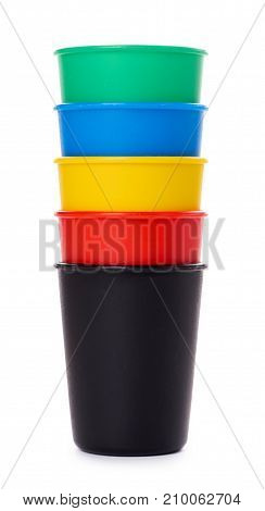 Color Buckets For Game Or Drinks Isolated On White Background