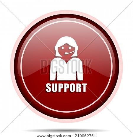 Support red glossy round web icon. Circle isolated internet button for webdesign and smartphone applications.