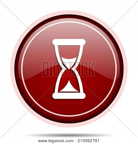 Time red glossy round web icon. Circle isolated internet button for webdesign and smartphone applications.