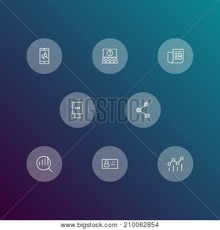 Collection Of Mobile Marketing, Audience, Stand Elements.  Set Of 8 Advertising Outline Icons Set.
