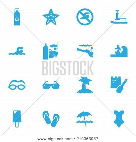 Collection Of Swimwear, Diver Equipment, Mask And Other Elements.  Set Of 16 Seaside Icons Set.
