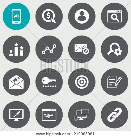 Collection Of Airplane, Engine, Magnifier And Other Elements.  Set Of 16 Search Icons Set.