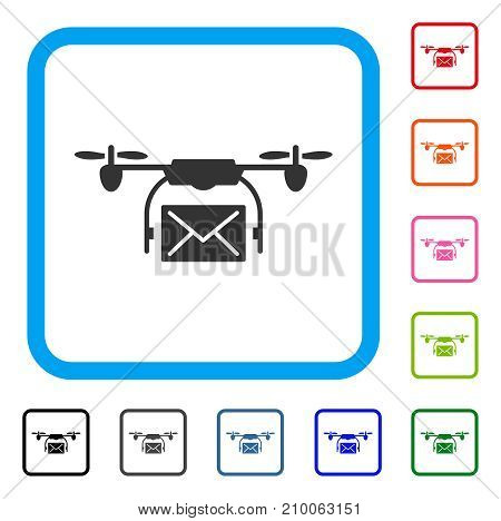 Mail Delivery Drone icon. Flat gray iconic symbol inside a light blue rounded rectangle. Black, gray, green, blue, red, orange color variants of Mail Delivery Drone vector.