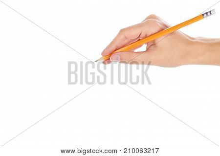 Woman Hand Writing With A Pen Isolated On White Background