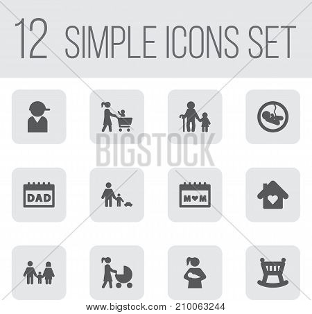 Collection Of House, Relatives, Baseball And Other Elements.  Set Of 12 Relatives Icons Set.