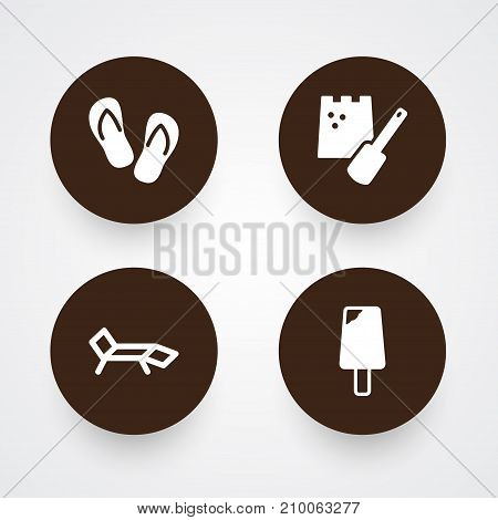 Collection Of Game, Lounge, Sundae And Other Elements.  Set Of 4 Coast Icons Set.