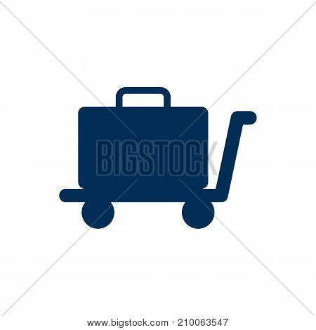 Isolated Luggage Trolley Icon Symbol On Clean Background