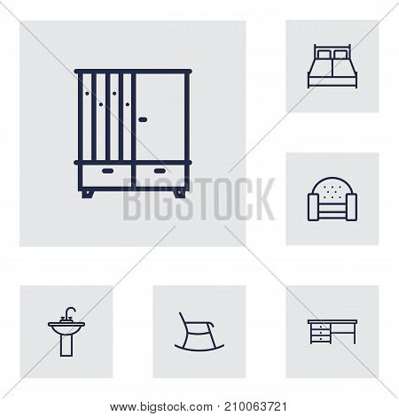 Collection Of Double Bed, Moving Chair, Washbasin And Other Elements.  Set Of 6 Set Outline Icons Set.
