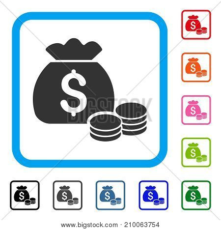 Money Bag icon. Flat gray iconic symbol in a light blue rounded square. Black, gray, green, blue, red, orange color variants of Money Bag vector. Designed for web and software interfaces.