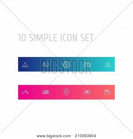 Collection Of Forest, Penknife, Compass And Other Elements.  Set Of 10 Camping Outline Icons Set.