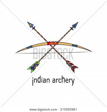 Archery icon. Indian ancient antique weapon. Vector illustration