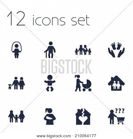 Collection Of Child, Stroller, Look After And Other Elements.  Set Of 12 People Icons Set.