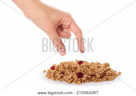 Homemade Granola With Dried Fruits In Hand Isolated On White Background