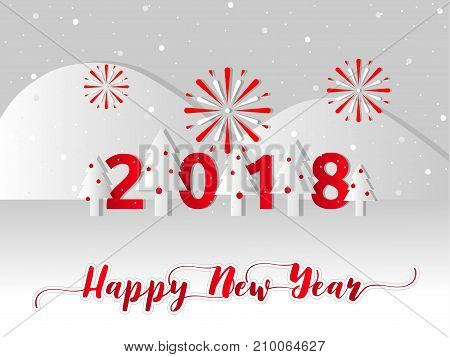 Happy new year 2018 concept, Vector illustration paper cut design,. Winter season of pine forest and mountain with snow covered and celebration fireworks in new year holiday.