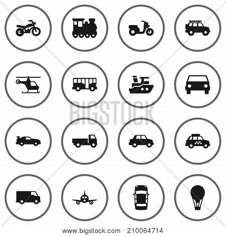 Collection Of Autobus, Panorama, Taxicab And Other Elements.  Set Of 16 Transport Icons Set.