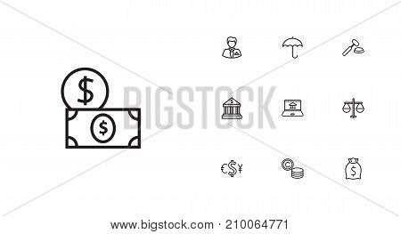Collection Of Dollar, Bank, Justice And Other Elements.  Set Of 10 Budget Outline Icons Set.
