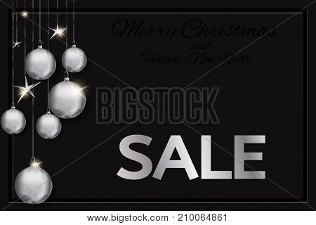 banner with christmas with silver christmas balls and stars on a black background. Christmas sale card