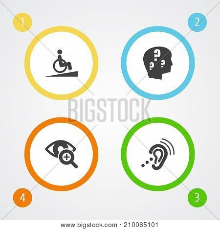 Collection Of Ramp, Lens, Brain With Question And Other Elements.  Set Of 4 Disabled Icons Set.