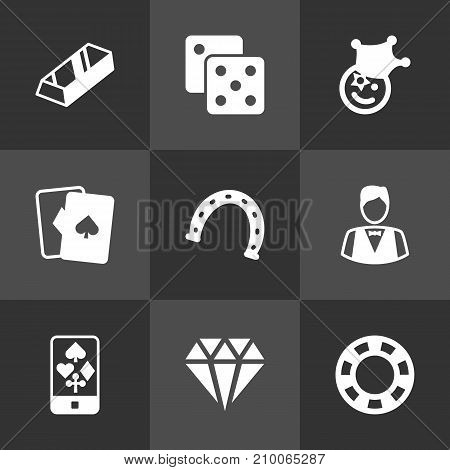Collection Of Dealer, Gambling Cube, Brilliant And Other Elements.  Set Of 9 Gambling Icons Set.