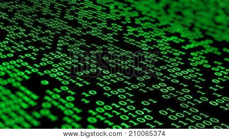 3d rendering. Binary computer code in dark green colors with random highlights. Binary code background. Digital Abstract technology background