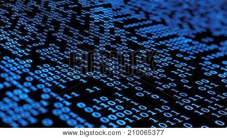 3d rendering. Binary computer code in dark blue colors with random highlights. Binary code background. Digital Abstract technology background