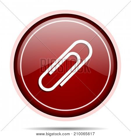 Paperclip red glossy round web icon. Circle isolated internet button for webdesign and smartphone applications.