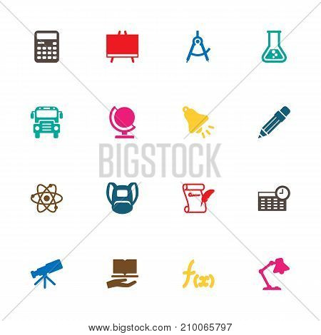 Collection Of Agreement, Pencil, Telescope And Other Elements.  Set Of 16 School Icons Set.