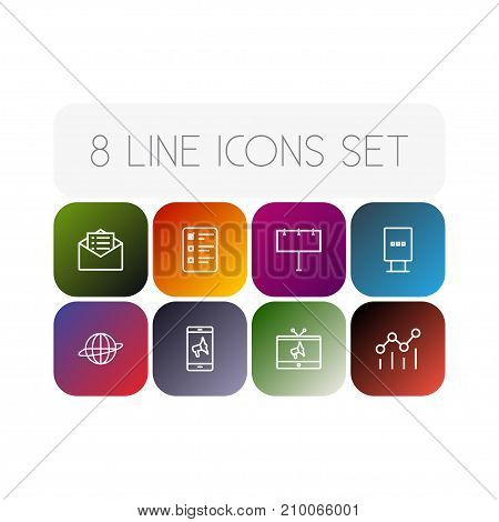 Collection Of Campaign, Stand, Billboard Elements.  Set Of 8 Advertising Outline Icons Set.
