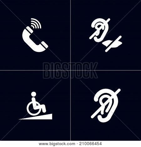 Collection Of Hard Of Hearing, Mute, Phone And Other Elements.  Set Of 4 Disabled Icons Set.