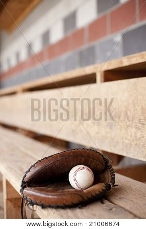 Catcher's Mitt in Dugout