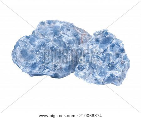 Raw blue calcite clusters isolated on white background