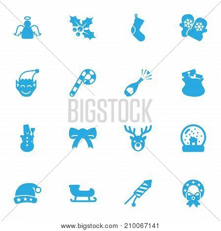 Collection Of Gnome, Sack, Santa Sleigh And Other Elements.  Set Of 16 Holiday Icons Set.