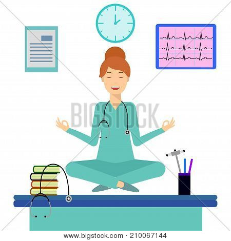 Yoga woman meditating in lotus pose over table in office room. Young doctor doing yoga and get calm at workplace. Relax, meditation concept. Flat design illustration. Search solution, brainstorming.