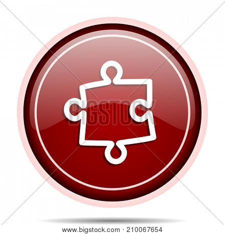 Puzzle red glossy round web icon. Circle isolated internet button for webdesign and smartphone applications.