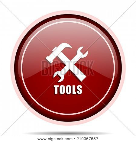 Tools red glossy round web icon. Circle isolated internet button for webdesign and smartphone applications.