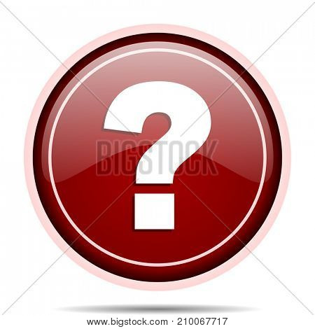 Question mark red glossy round web icon. Circle isolated internet button for webdesign and smartphone applications.