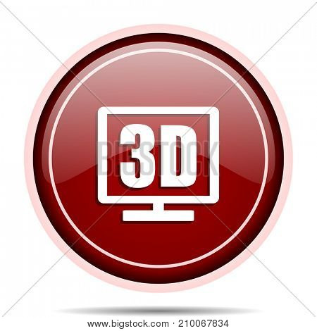 3d display red glossy round web icon. Circle isolated internet button for webdesign and smartphone applications.