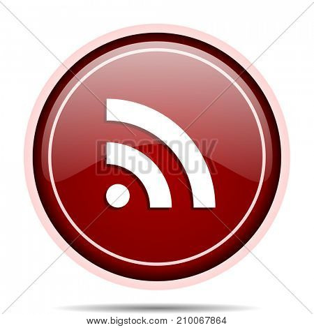 Rss red glossy round web icon. Circle isolated internet button for webdesign and smartphone applications.