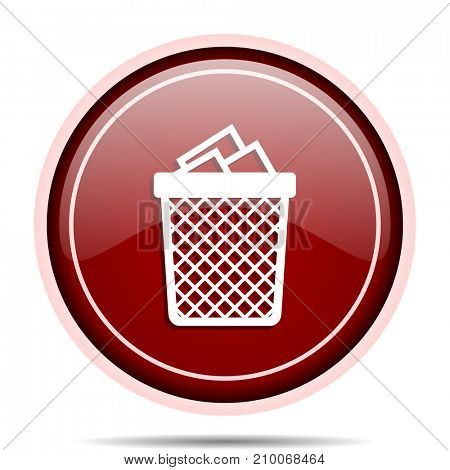Trash can red glossy round web icon. Circle isolated internet button for webdesign and smartphone applications.