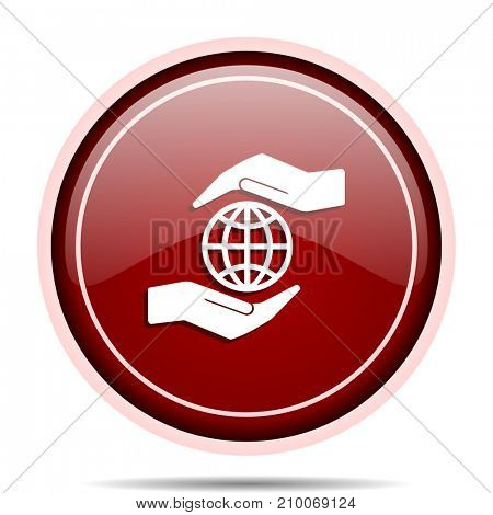 Hand protect the earth red glossy round web icon. Circle isolated internet button for webdesign and smartphone applications.
