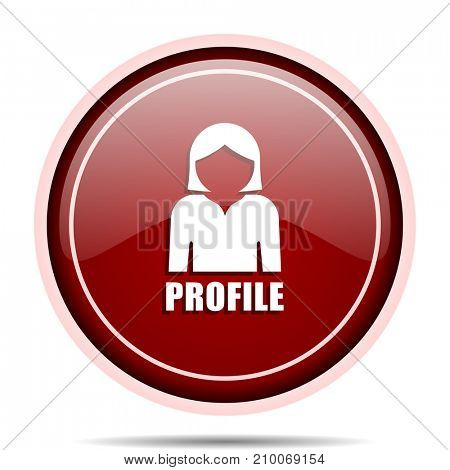 Profile red glossy round web icon. Circle isolated internet button for webdesign and smartphone applications.