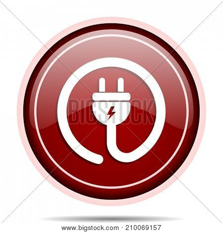 Electric plug red glossy round web icon. Circle isolated internet button for webdesign and smartphone applications.