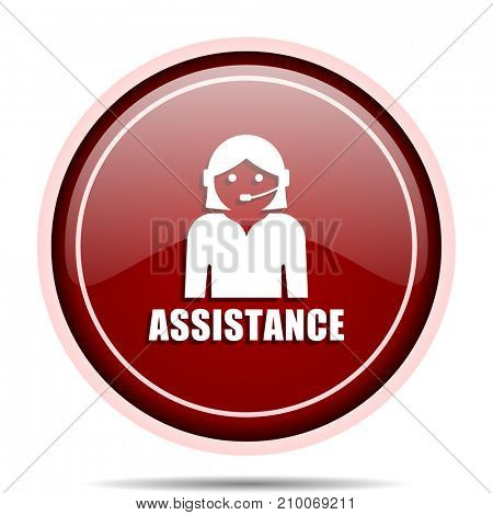 Assistance red glossy round web icon. Circle isolated internet button for webdesign and smartphone applications.