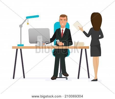 Businessman working character. Man, office worker in office clothes, behind office table in room. Joint work, cooperation, partnership. Talking with colleague working board. Vector illustration.