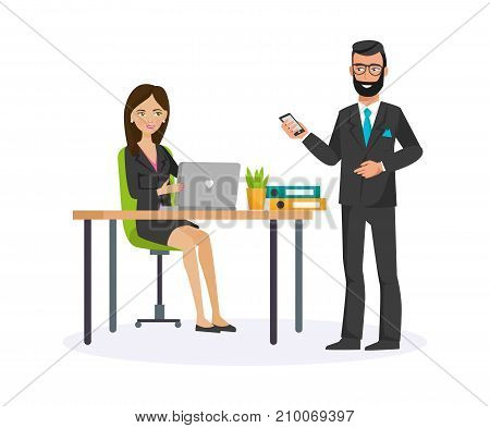Businesswoman working cartoon character person in different situations. Woman, office worker in office clothes, with office table. Talking with colleague working board, teamwork. Vector illustration.