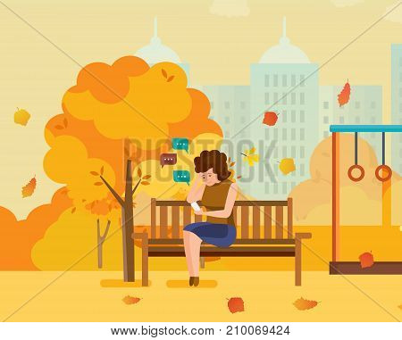 Autumn city park with seasonal leaves. Girl resting in park in mobile chat, communicates on phone through messengers and social networks, mobile chat. Sending message via chat. Vector illustration.