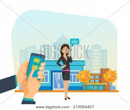 Girl in beautiful clothes, walks in autumn park resting, in hand holding phone mobile chat and communicates through messenger, social networks, in mobile chat. Sending message via chat. Illustration.