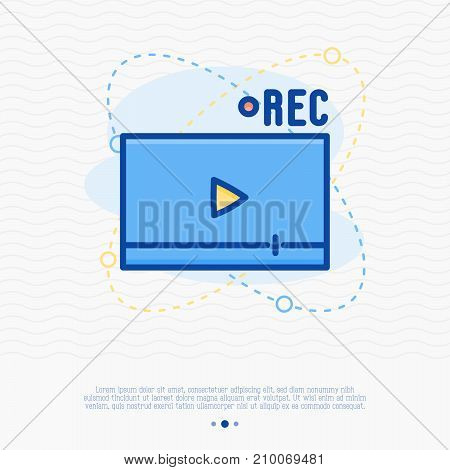 Video streaming thin line icon. Vector illustration of media player.