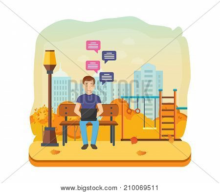 People with gadgets in autumn park. Man running remotely on freelance, job on laptop on bench in autumn park, communicates through social networks. Sending message via chat. Vector illustration.