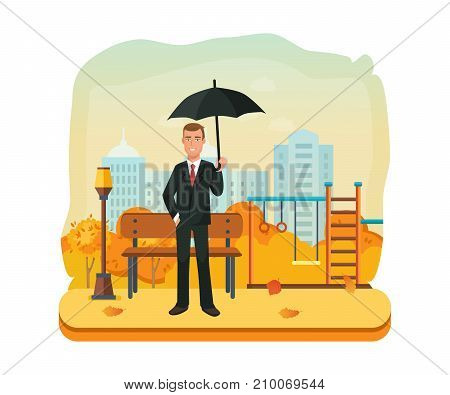 Businessman character person with an umbrella in autumn park. Man on background street city, in autumn park, relaxation, waiting for business partner. Vector illustration isolated in cartoon style.